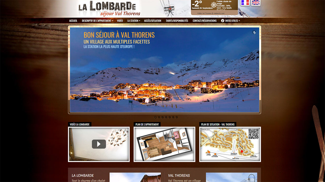 Creation site internet de location de chalet à Val Thorens, La Lombarde
